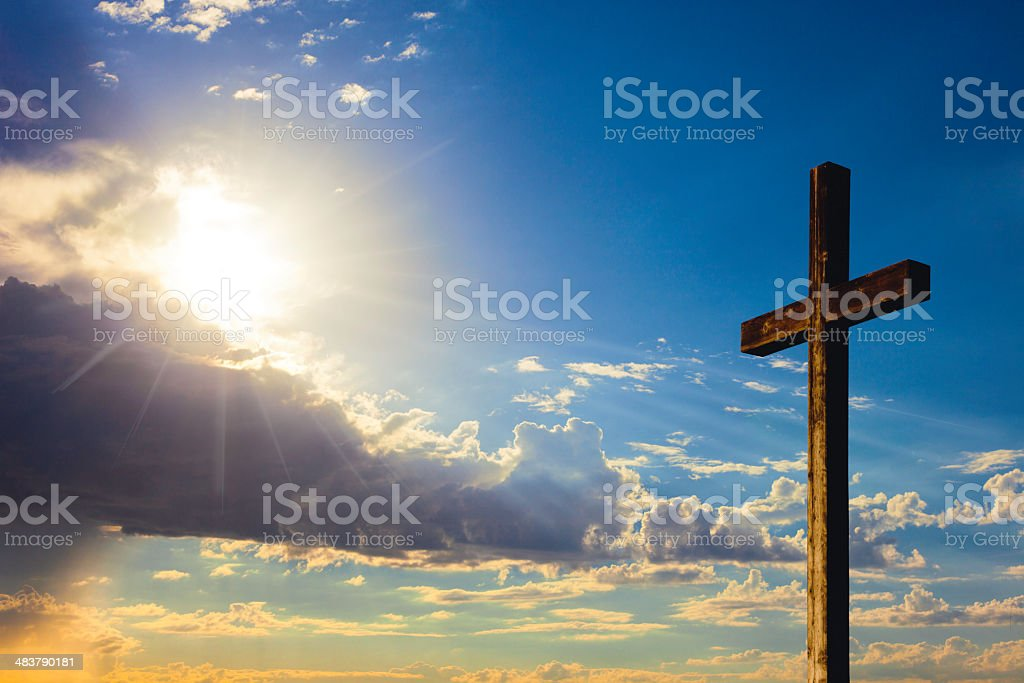 Rugged Wooden Cross royalty-free stock photo