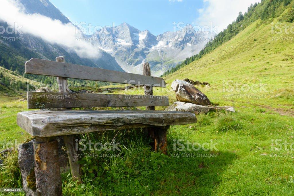 Ruhebank in den österreichsichen Alpen stock photo
