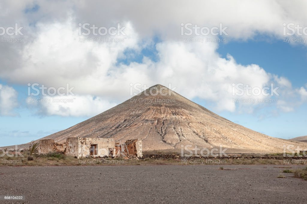 Ruin and a volcanic Landscape stock photo