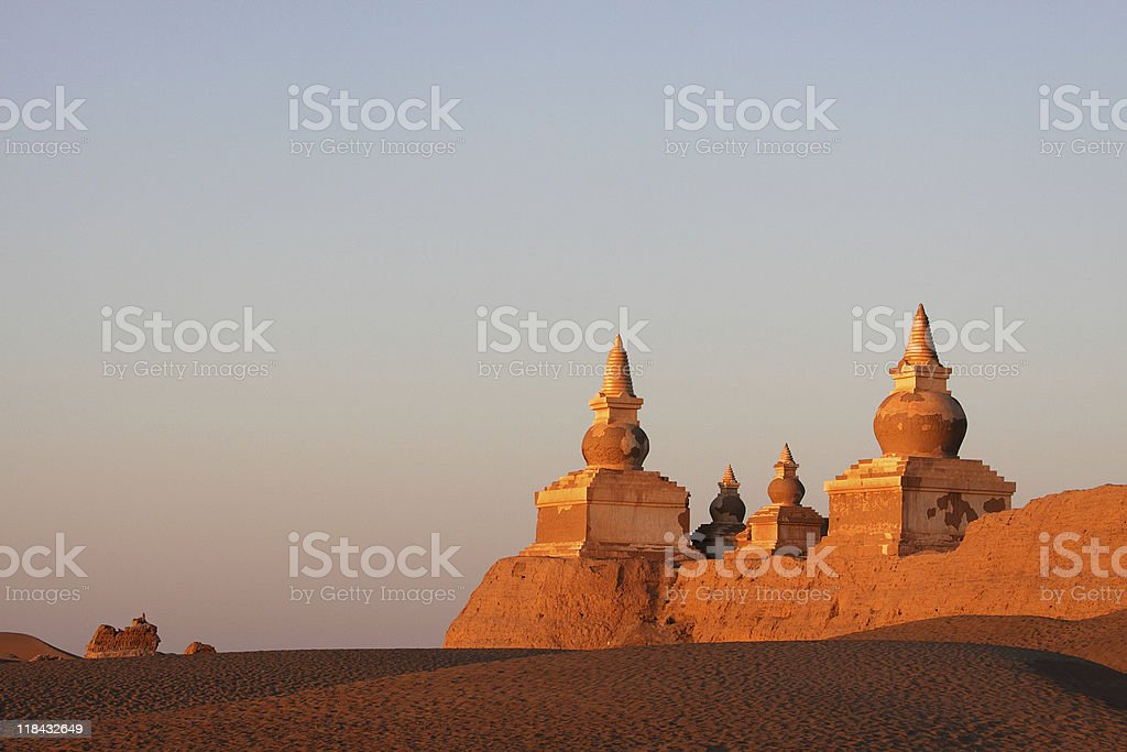 ruin in gobi desert stock photo