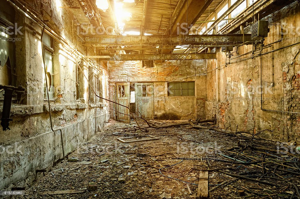 Ruin of an damaged old factory - Urbex photography stock photo