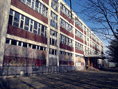 Ruin of an old school in GDR style