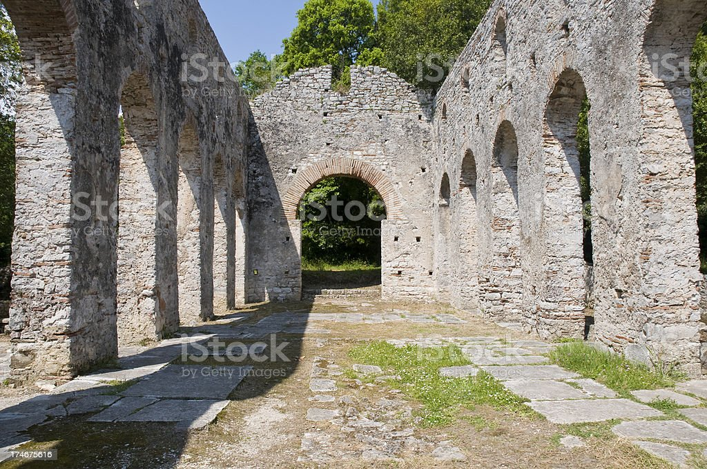 'Ruin of Ancient Church in Butrint, Albania' stock photo