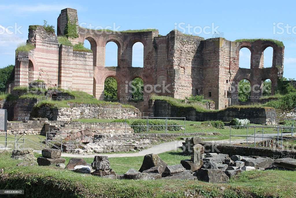 Ruin of ancient Roman imperial bath in trier stock photo