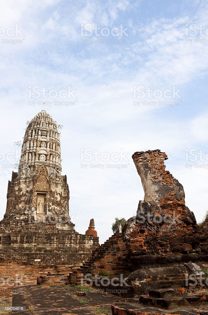 Ruin of Ayutthaya stock photo
