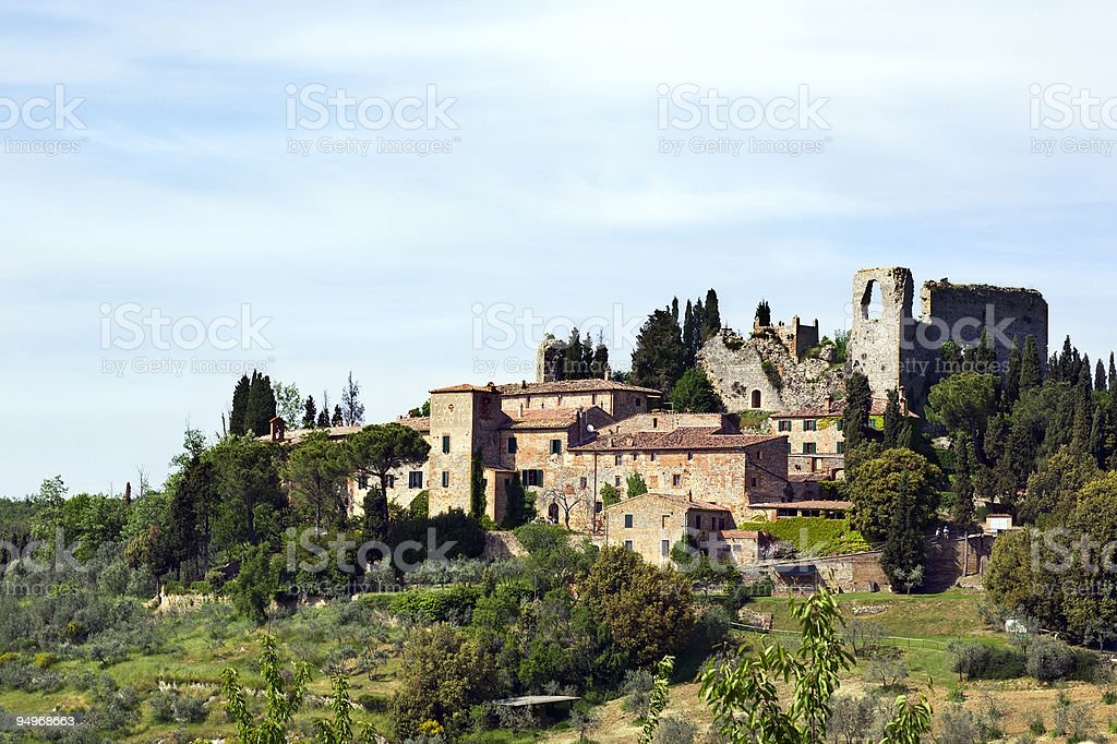 ruin of castle Montelifr? in the Tuscany royalty-free stock photo