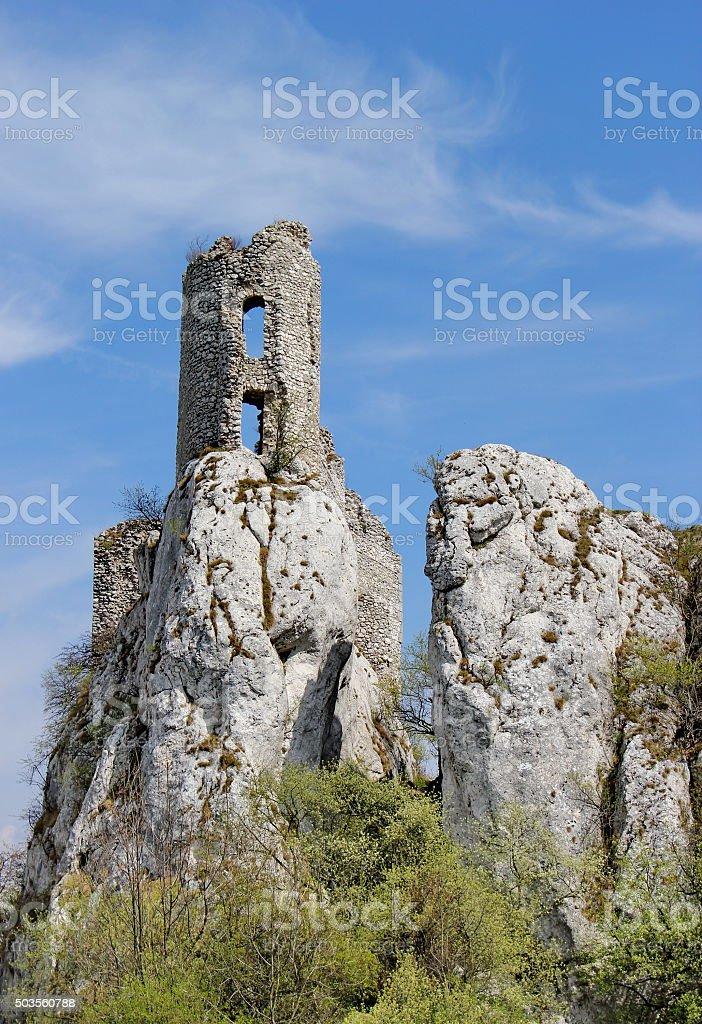 ruin of castle on the rock, Sirotci hrad, Czech republic stock photo
