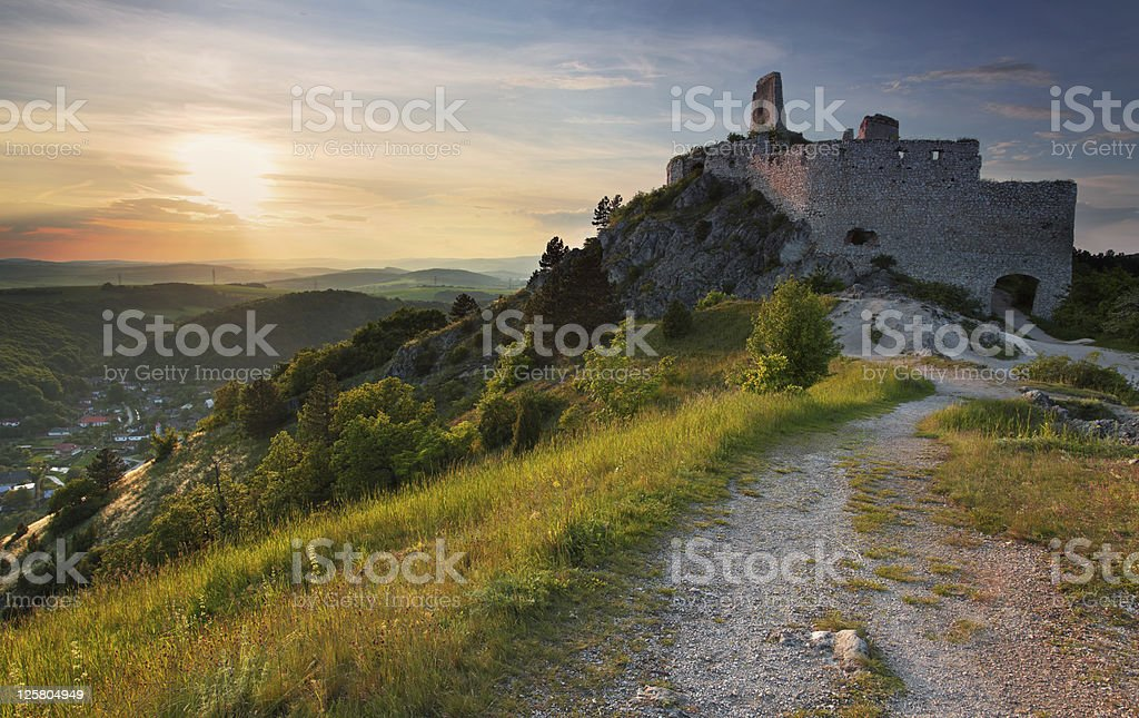 Ruin of castle with sun royalty-free stock photo