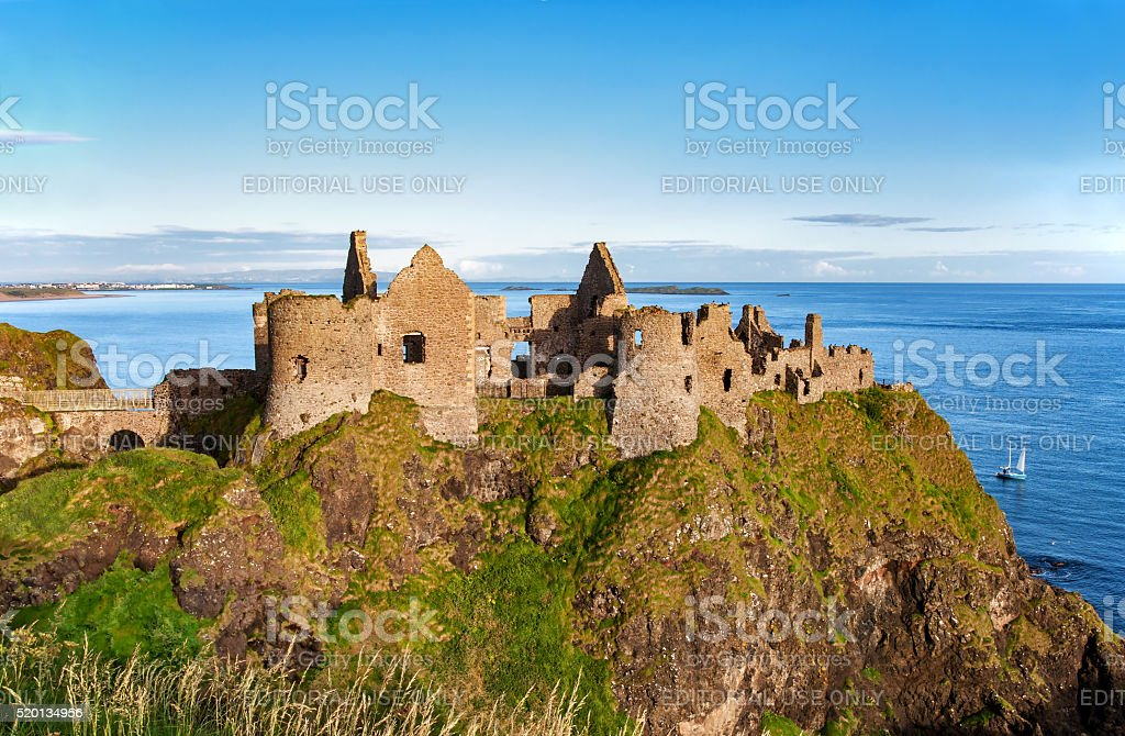 Ruin of Dunluce castle in Northern Ireland stock photo