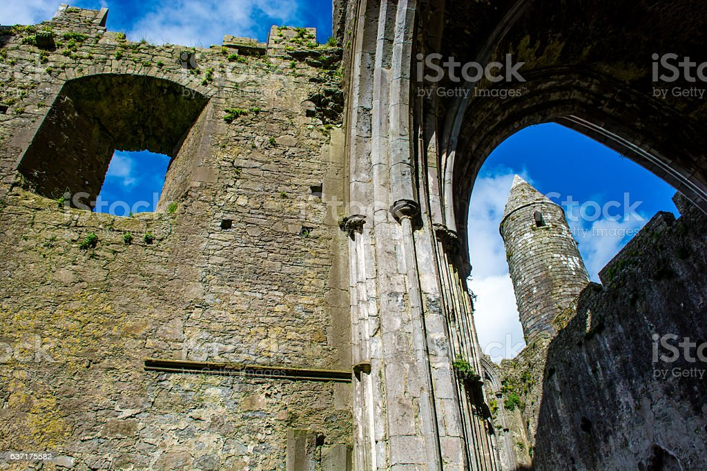 Ruin of Monastery at Rock of Cashel in Ireland stock photo