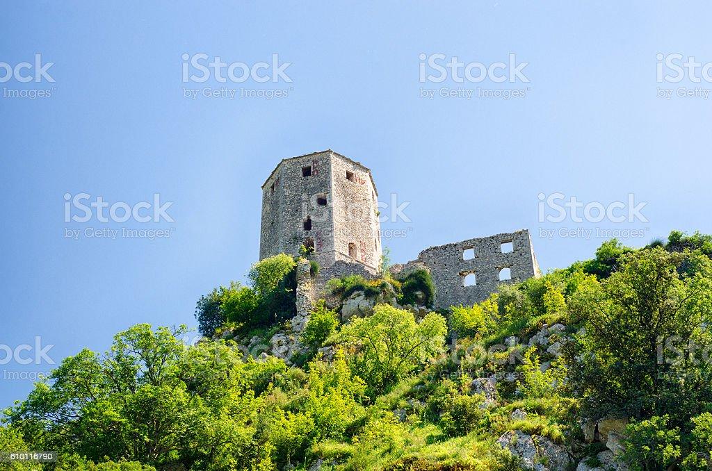 Ruin of old castle in Pocitelj, Bosnia and Herzegovina stock photo