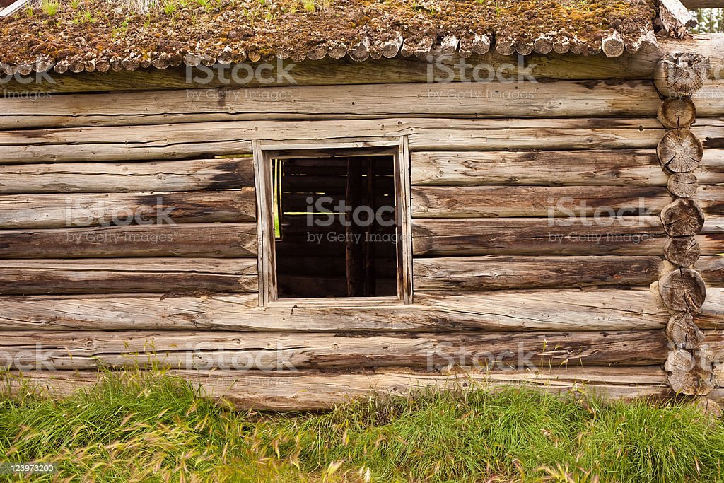 Ruin of old log cabin royalty-free stock photo