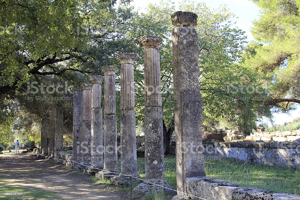 Ruin of Palaestra stock photo