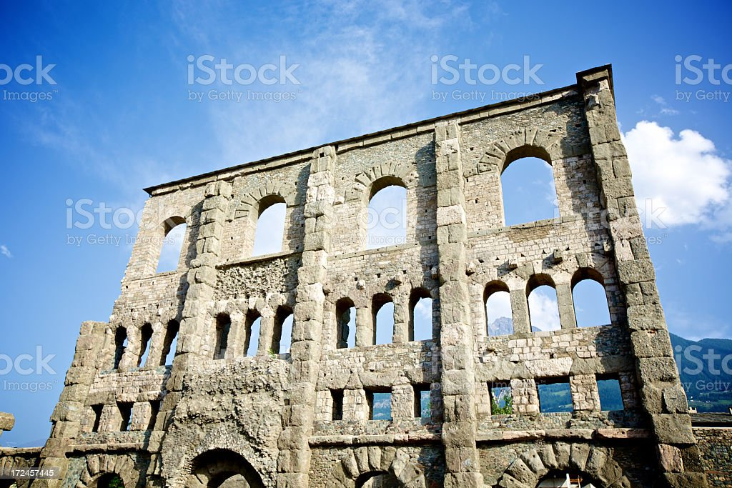 Ruin of roman theatre in Aosta royalty-free stock photo