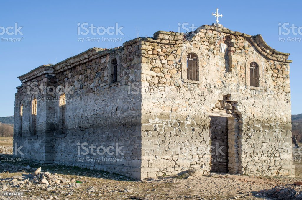 Ruin of rural church in  dam Jrebchevo, Bulgaria stock photo