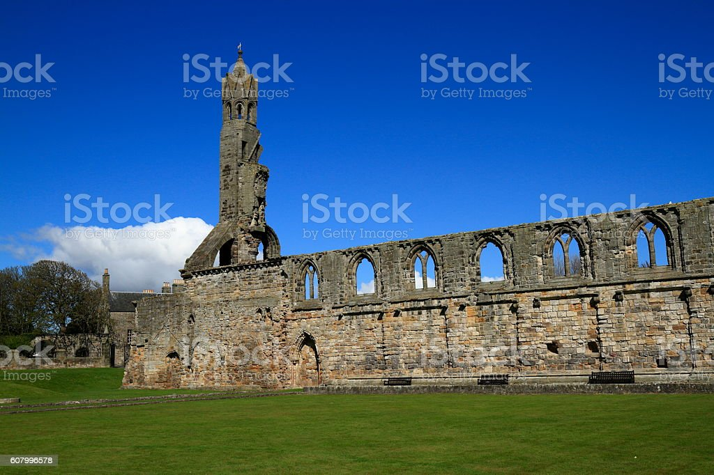 Ruin of St Andrews Cathedral, Scotland stock photo