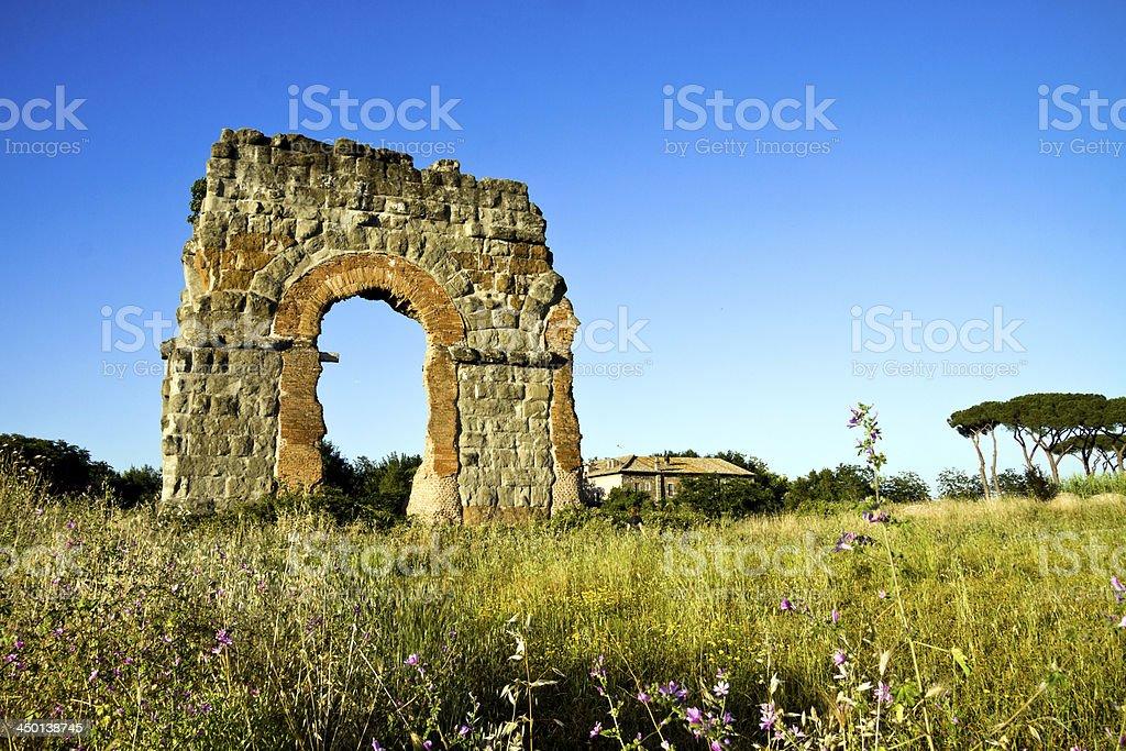 Ruin of the roman acqueduct 'Acqua Claudia'. stock photo