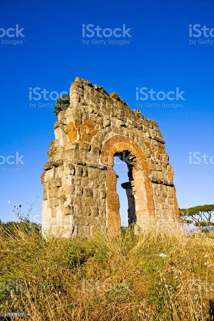 Ruin of the roman acqueduct 'Acqua Claudia', Rome. stock photo