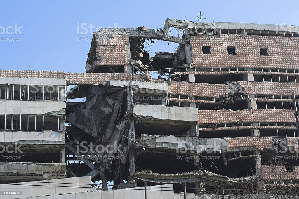 Ruin of war - broken building stock photo