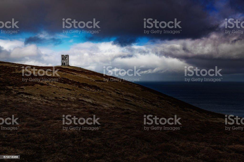 Ruin of World War Two lookout post on Bressay, Shetland Islands of Scotland stock photo