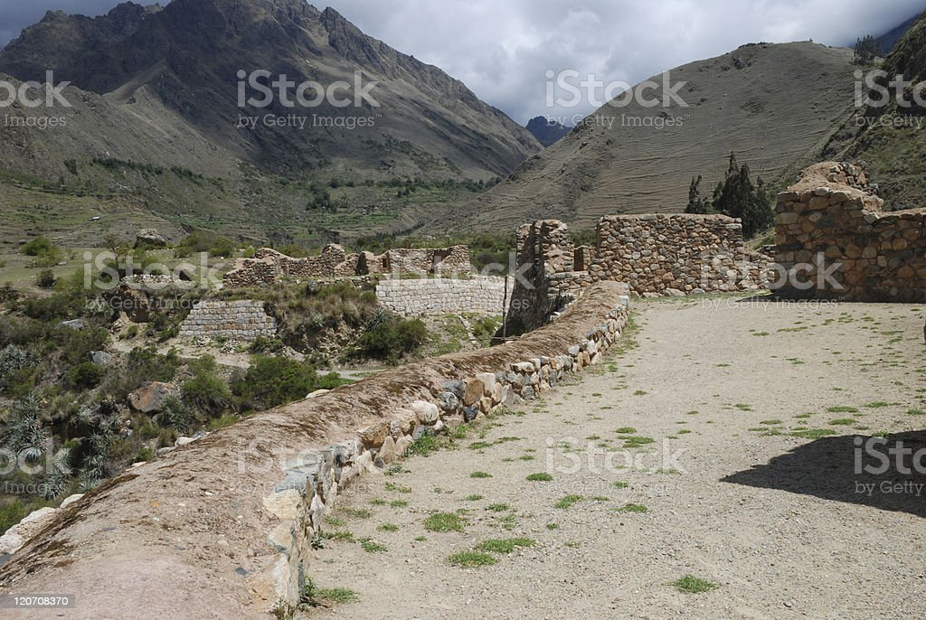 Ruin on the Inca Trail royalty-free stock photo