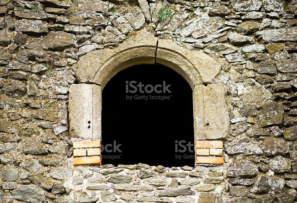 Ruin window with copy space stock photo
