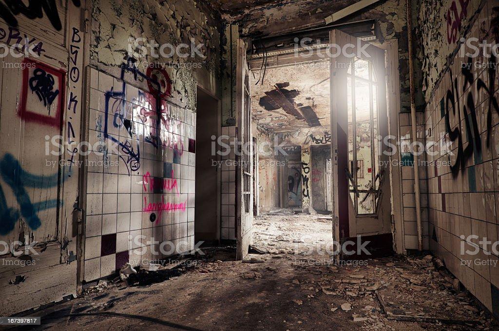 Ruin with doublewing door - HDR stock photo