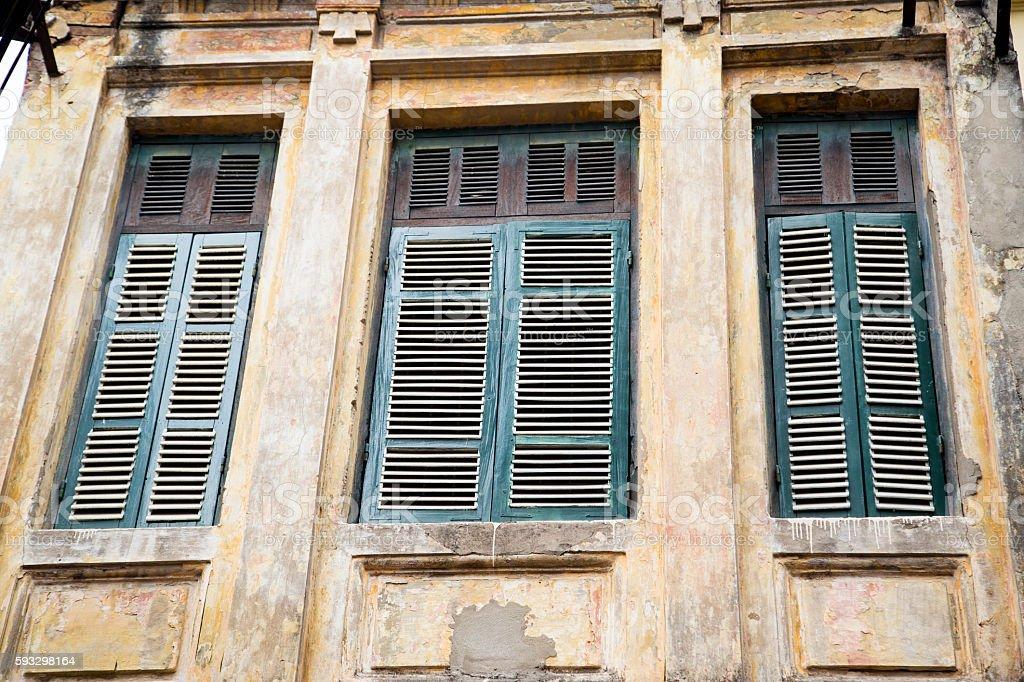 Ruin wooden door and windows. stock photo
