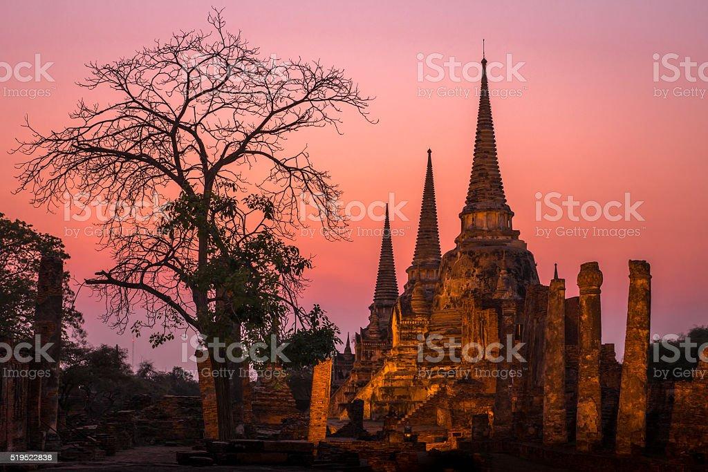 Ruined 3 Pagodas of Ayuthaya, Thailand during twilight 2 stock photo