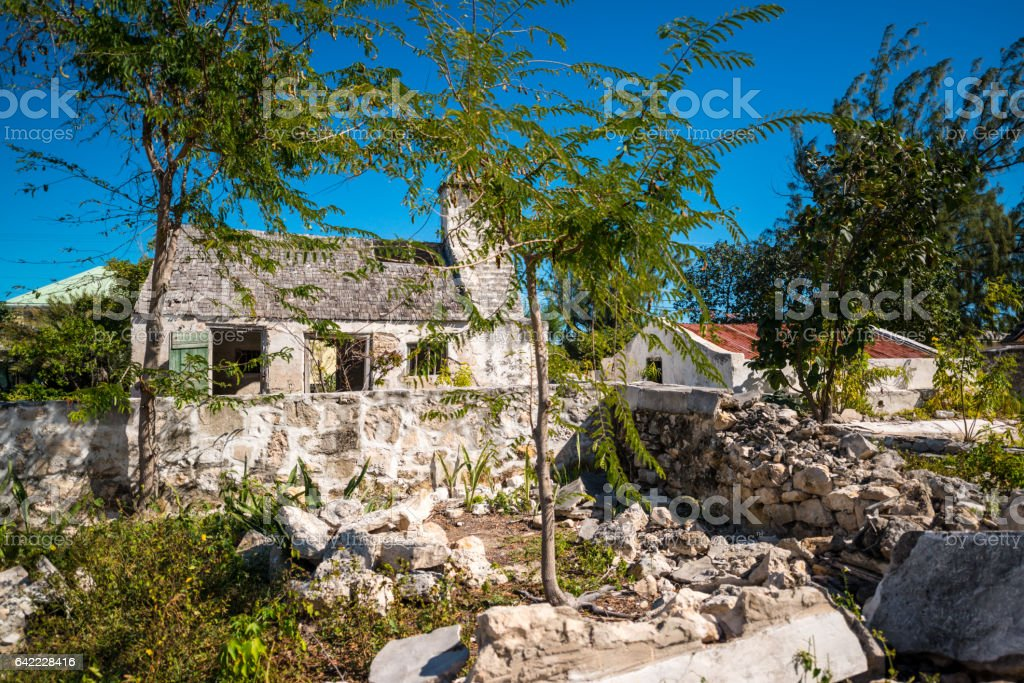 Ruined abandoned houses on Grand Turk Island views, Turks and Caicos Islands stock photo