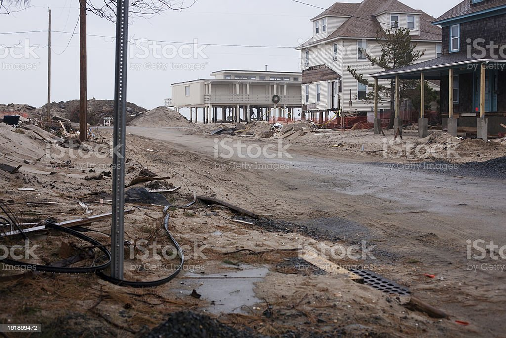 Ruined beachfront property at the Jersey Shore stock photo