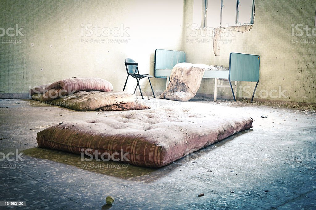 Ruined bedroom stock photo