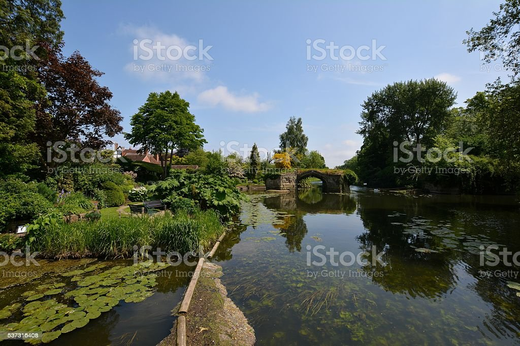 Ruined bridge on the River Avon, Warwick stock photo