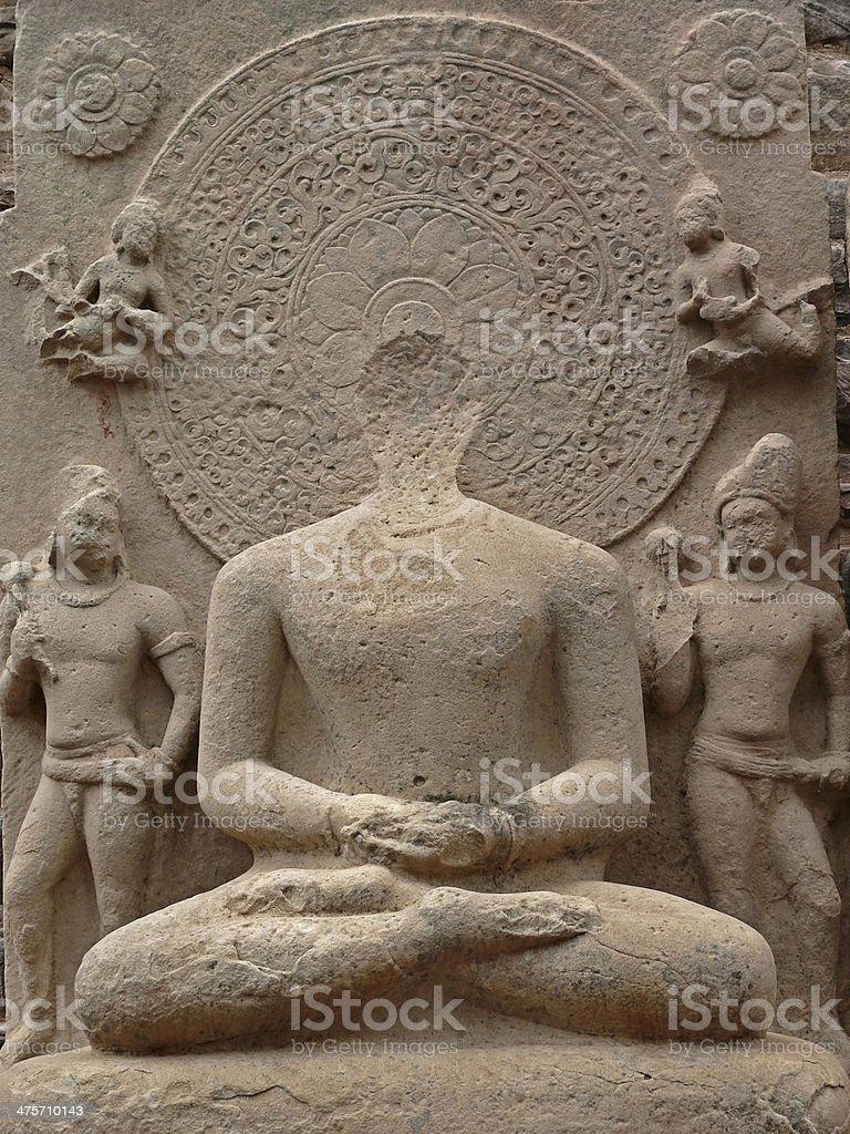 Ruined Buddha sculpture at Uttari Toran Dwar, North gate stock photo