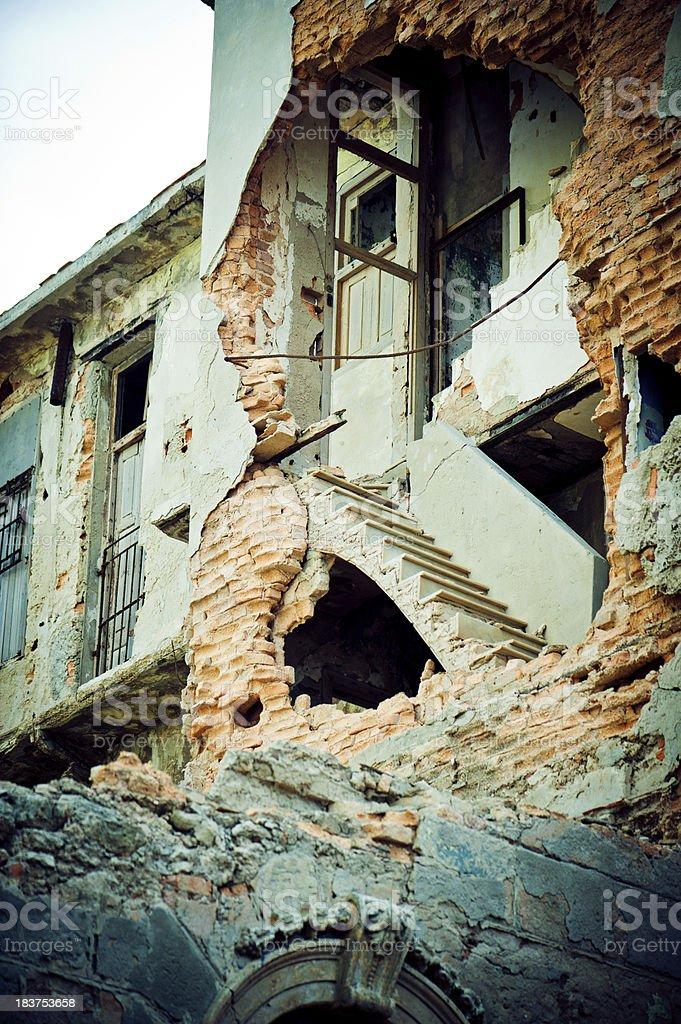 Ruined building in Havana royalty-free stock photo