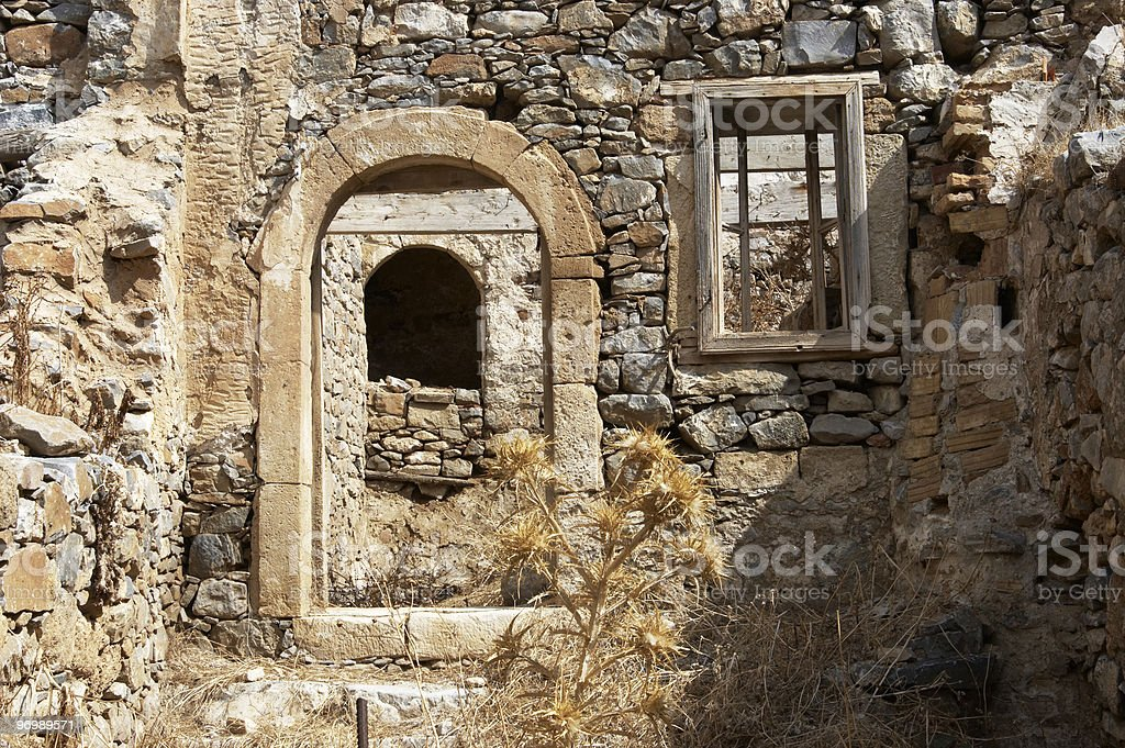 Ruined building  in the Cretan island of Spinalonga stock photo