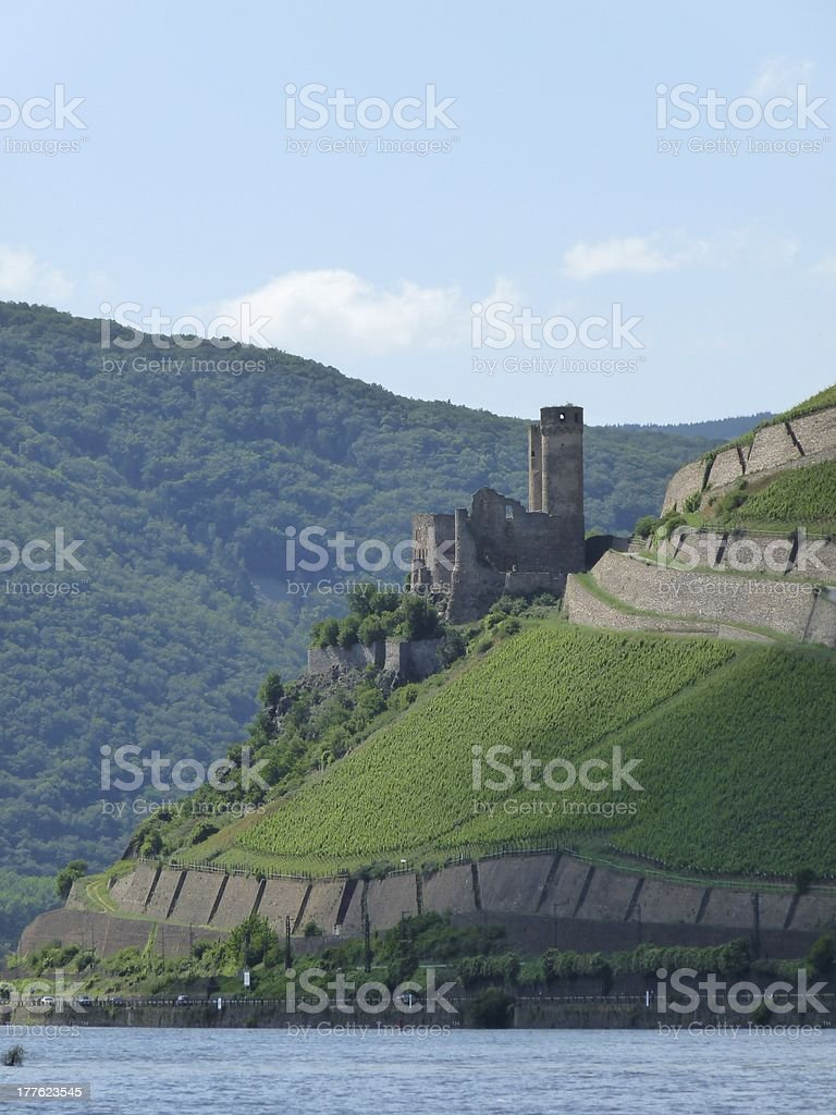 Ruined Castle along Rhine River stock photo