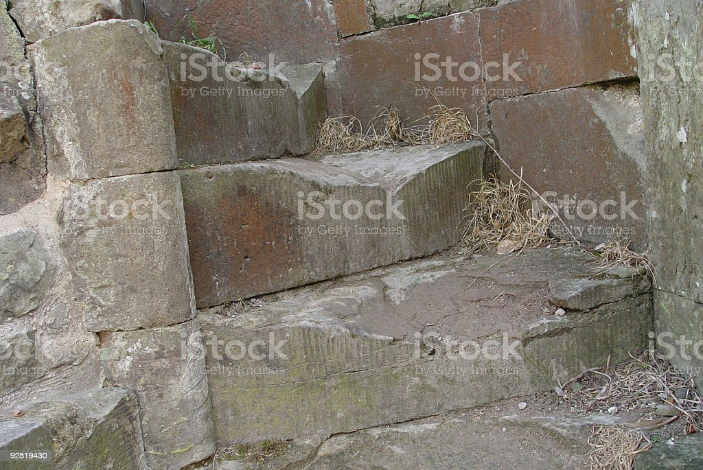 ruined castle steps royalty-free stock photo