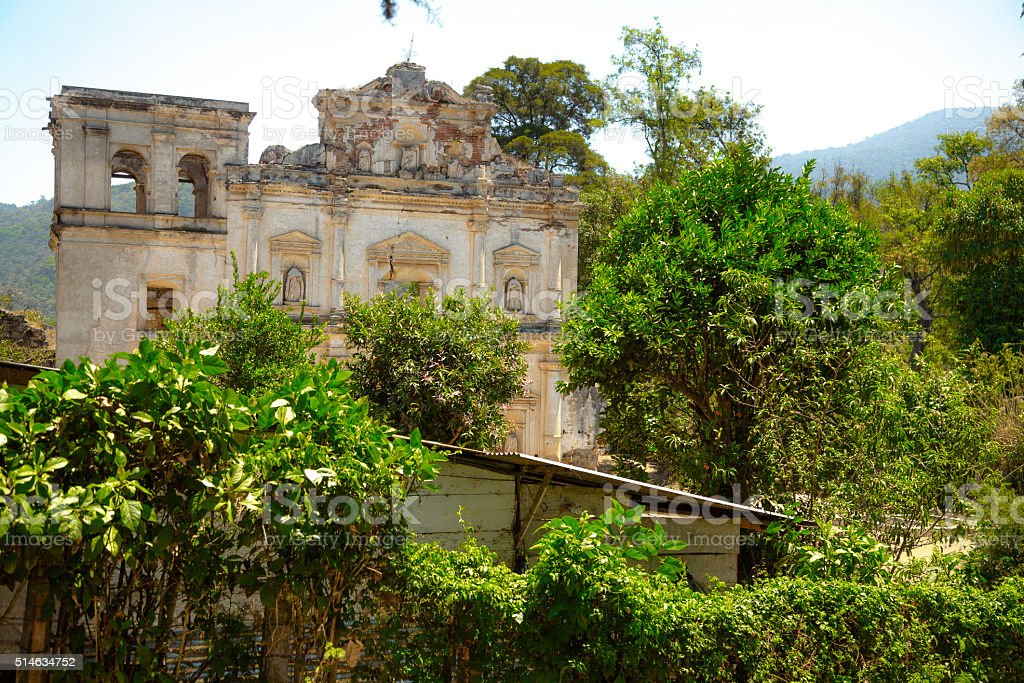 Ruined Church in Antigua Guatemala stock photo