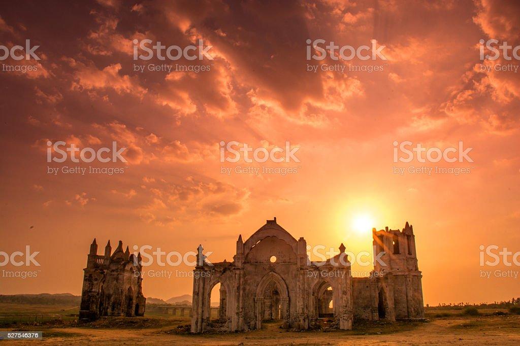 Ruined Church In Karnataka, India at Sunset stock photo