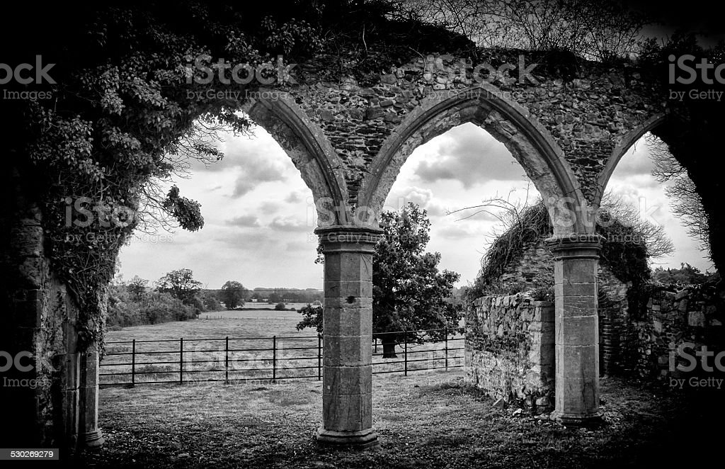 Ruined church nave arches stock photo
