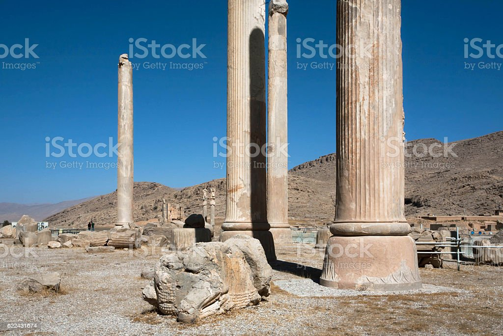 Ruined city and columns of palace in Persepolis stock photo