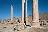 Ruined city and columns of palace in Persepolis