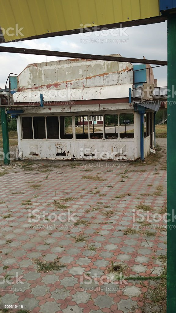 ruined city and shop stock photo
