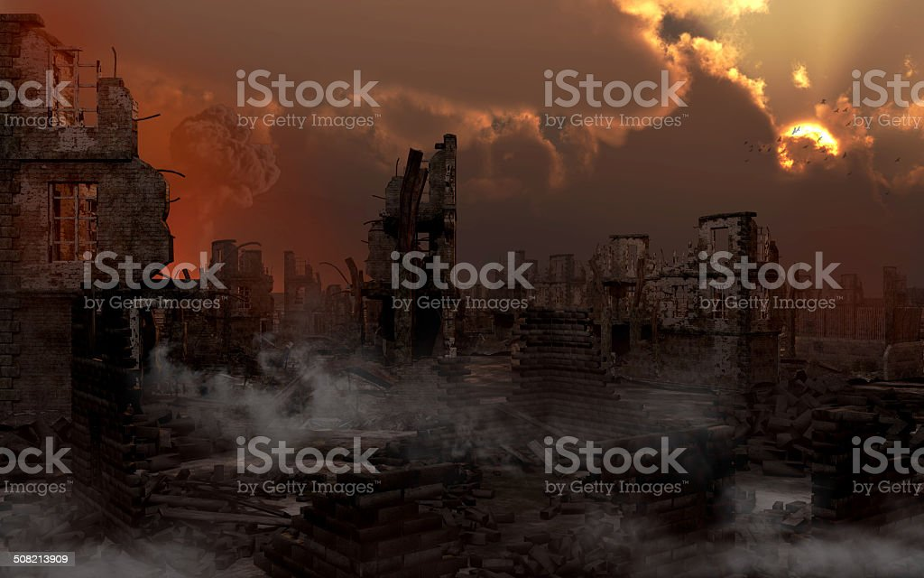 Ruined city with smoke stock photo