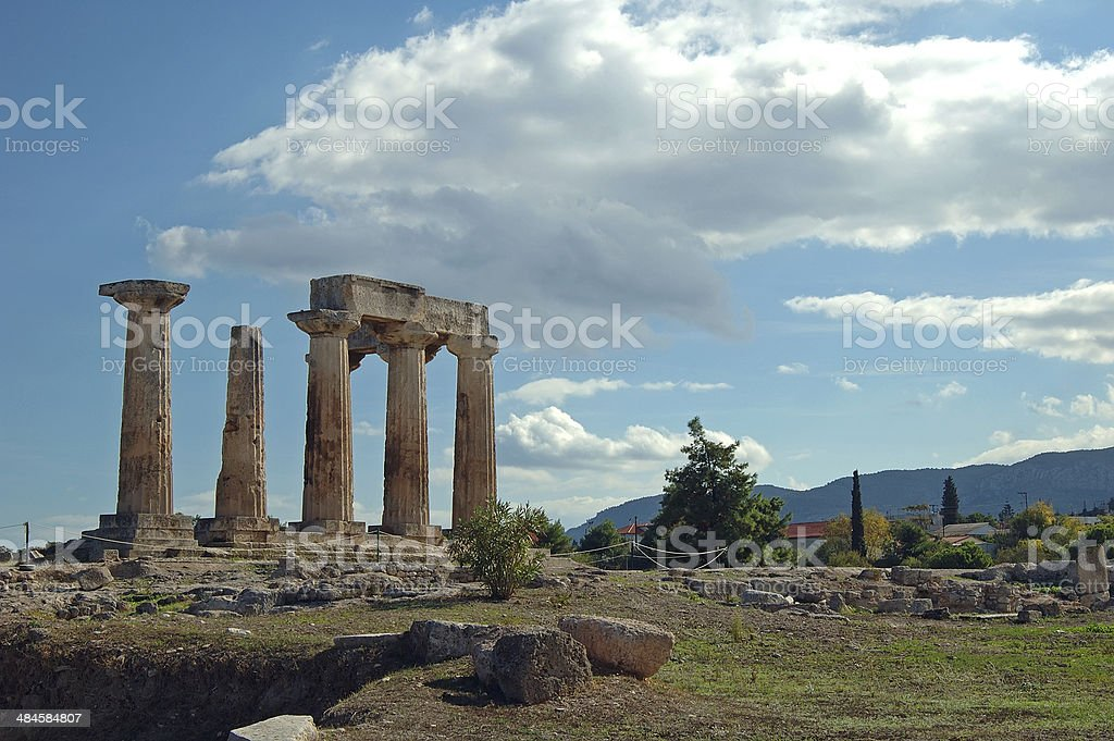 ruined columns of ancient corinthos stock photo