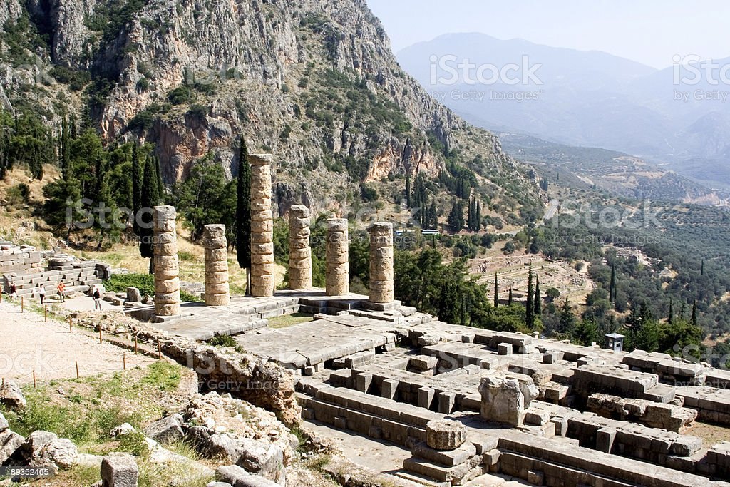 ruined columns of ancient temple in delphi greece royalty-free stock photo