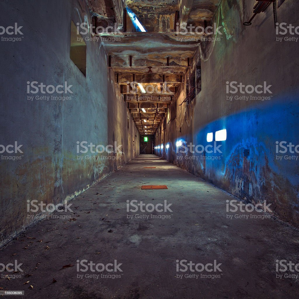 Ruined corridor, Abandoned Factory, HDR royalty-free stock photo