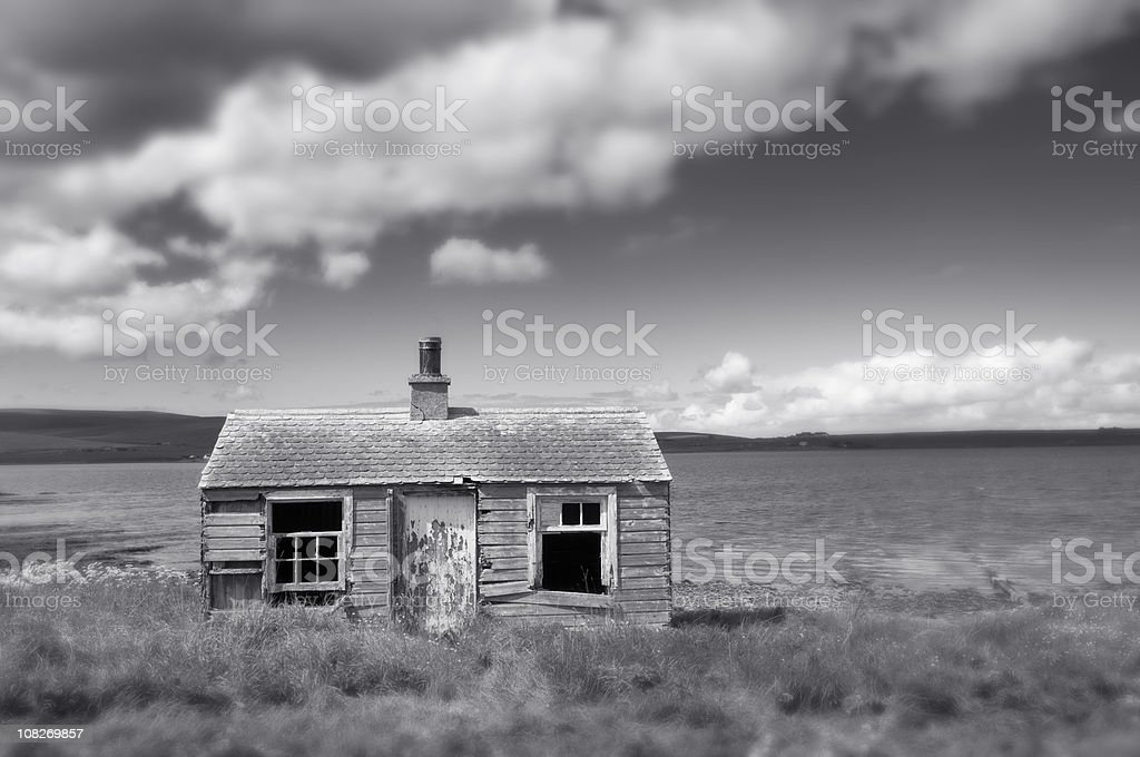 Ruined cottage stock photo