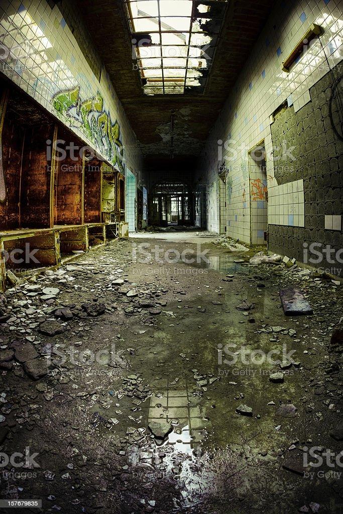 Ruined Cracked Hospital Corridor Architecture HDR Fisheye royalty-free stock photo